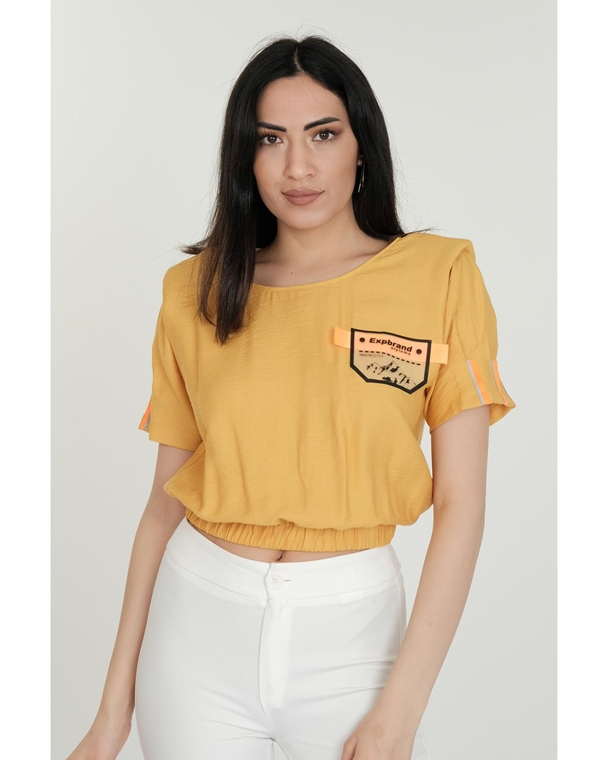 Two'e Short Sleeve Crew Neck Casual Blouses