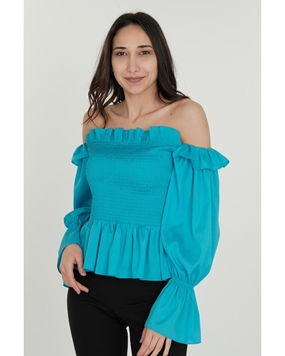 Lila Rose Long Sleeve Boat Neck Casual Blouses