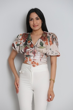 Lila Rose Short Sleeve Collarless Casual Blouses