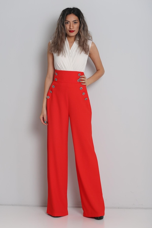 Green Country High Waist Casual Trousers