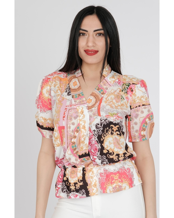 Pole & Pole Short Sleeve V Neck Casual Blouses