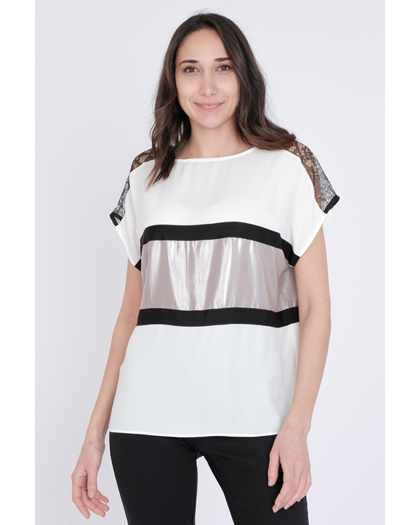 Mianotte Short Sleeve Crew Neck Casual Blouses