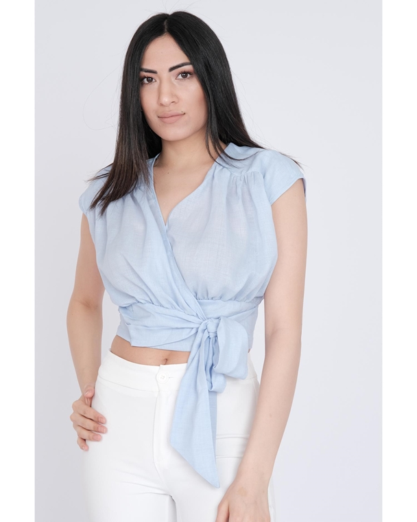 Pole & Pole Sleevless V Neck Casual Blouses