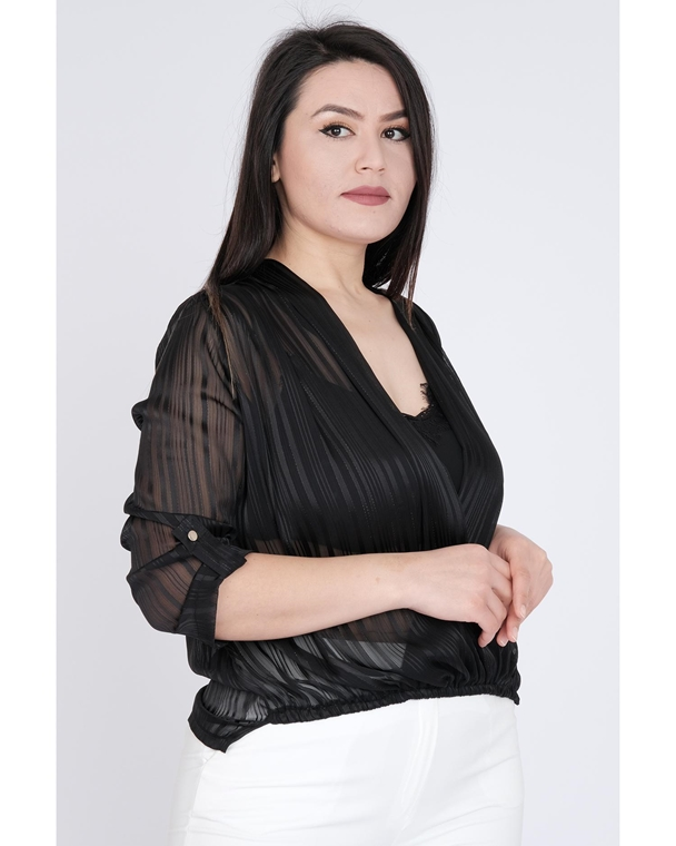 Pole & Pole Three Quarter Sleeve V Neck Casual Blouse