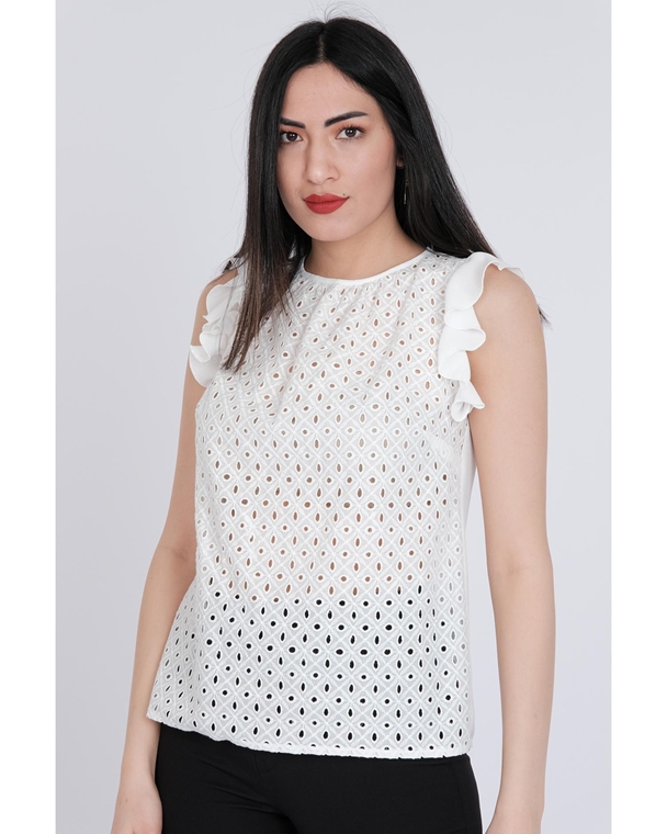 Pole & Pole Sleevless Crew Neck Casual Blouses