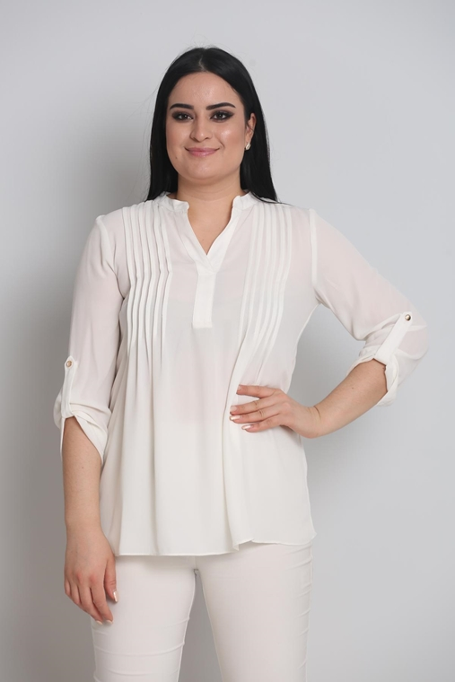 Sln Three Quarter Sleeve Clerical Neck Casual Blouse
