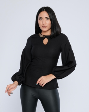 Biscuit Long Sleeve Crew Neck Casual Blouses