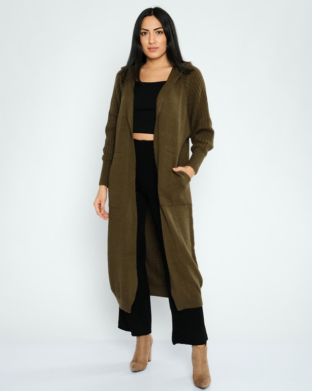 Mizalle Hooded Open-Ended Casual Cardigans